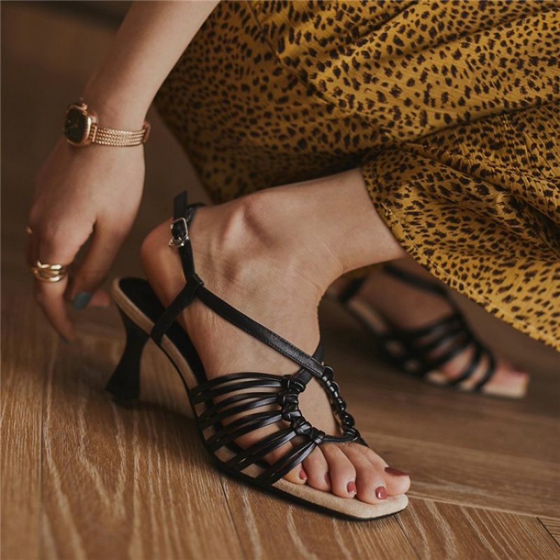 Slim heel fashion Roman versatile sexy womens shoes leisure summer 2020 leather peep toe sandals womens high heels