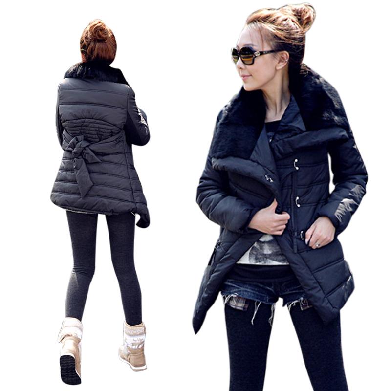 2015 в корейской версии нового реального кролика меховой воротник пальто куртки длинные хлопка женщин распродажа скидки