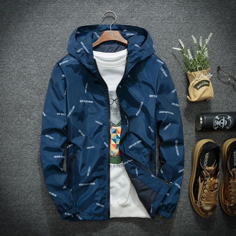 Mens fatter plus size jacket Korean version fat people trend loose mens new hooded fat jacket in spring and Autumn