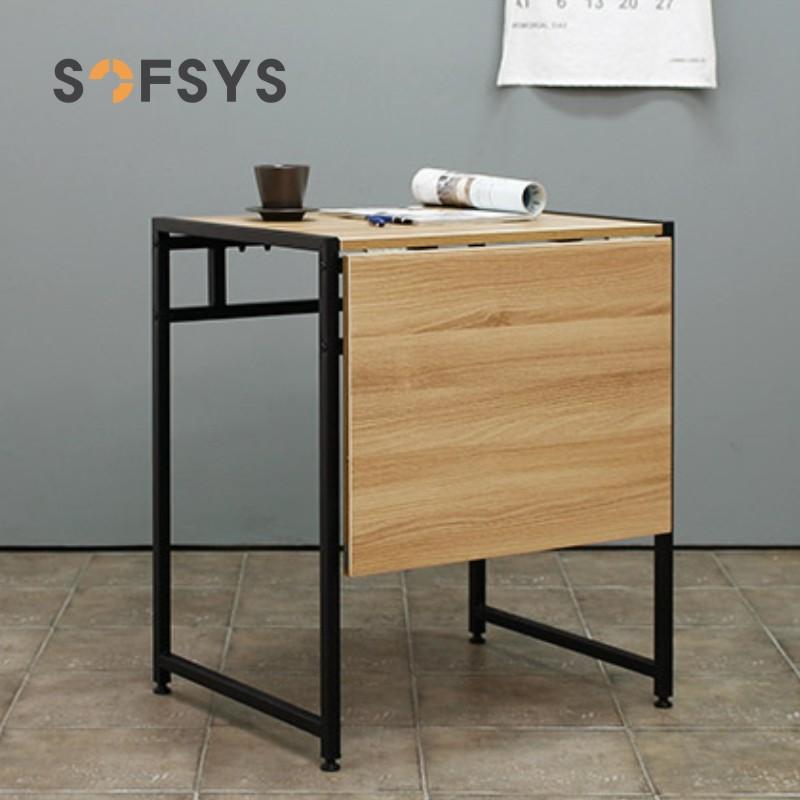 SOFSYS小餐桌可折叠桌现代简约2人伸缩桌子多功能小户型饭桌方桌