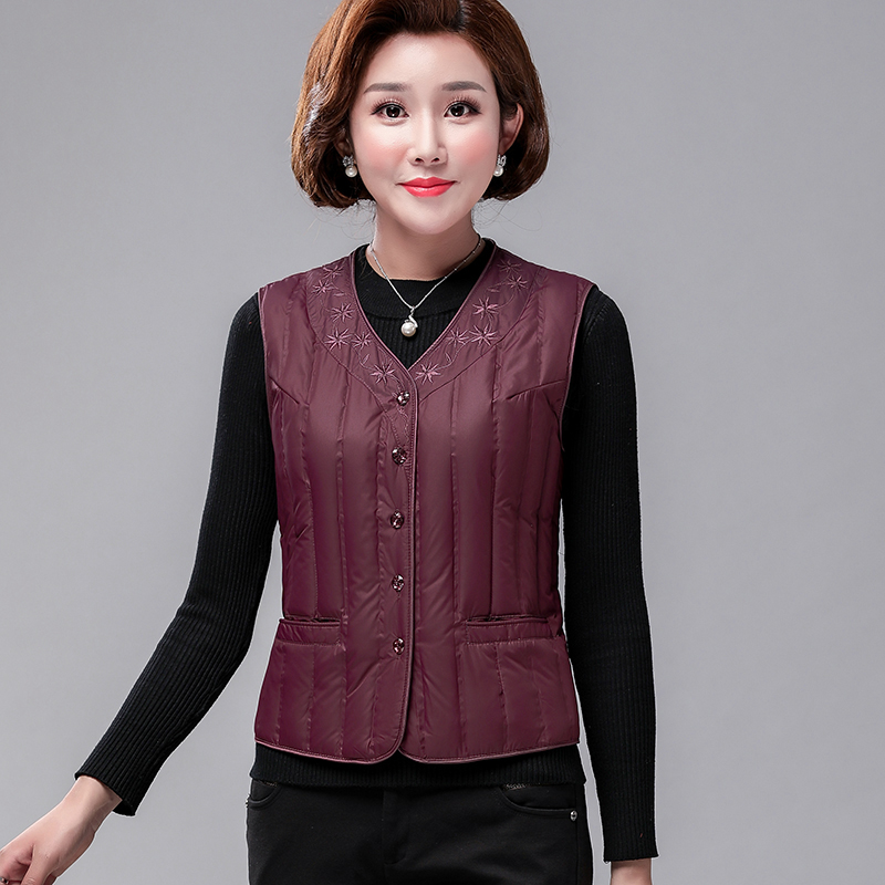 Middle aged and elderly womens down vest short thin tank top white duck down mother wearing shoulder jacket in autumn and winter