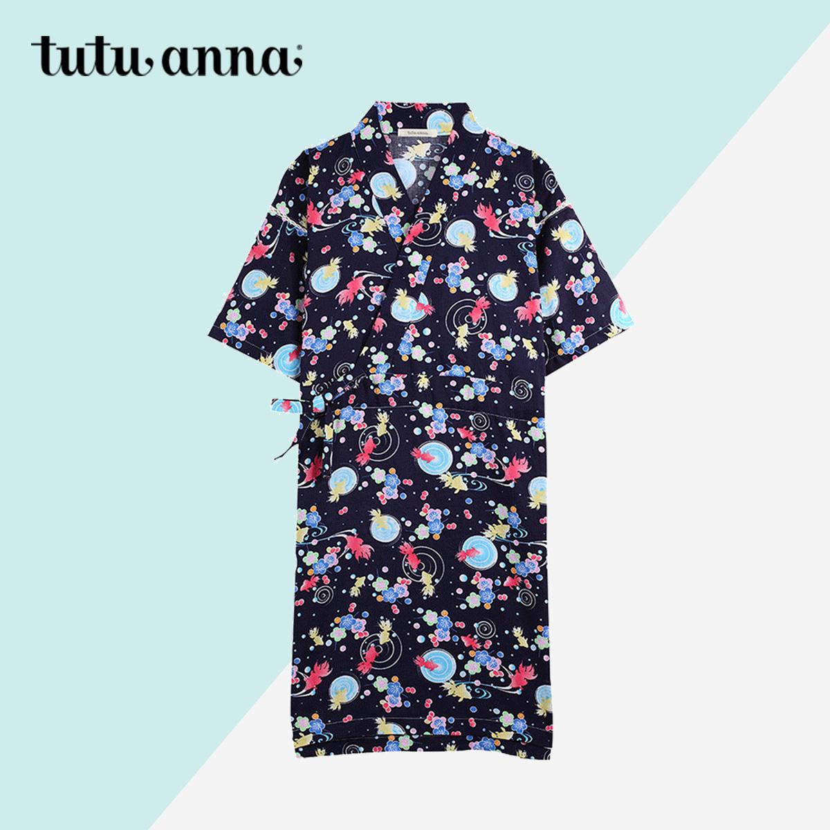 tutuanna睡裙女夏季家居和服休闲可爱金鱼和风纯棉睡衣短薄家居服11月26日最新优惠