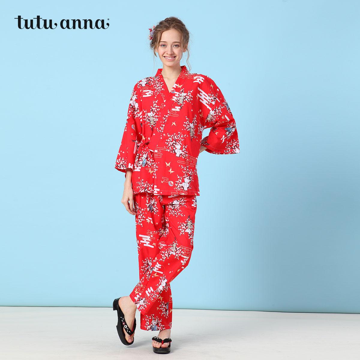 tutuanna2018春夏新品和风甚平 小狐狸印花 和服睡衣长袖裤上下套