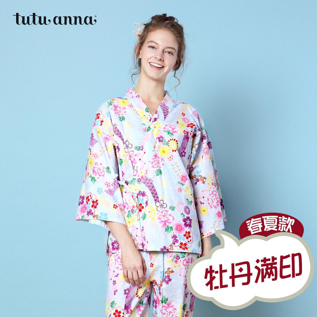tutuanna2018春夏新款 睡衣女 和风甚平 牡丹花满印 家居服上下套