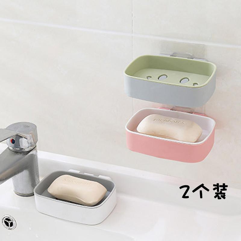 满5.80元可用1元优惠券双层肥皂盒墙上壁挂吸盘沥水香皂盒静电贴式卫生间洗衣皂架免打孔