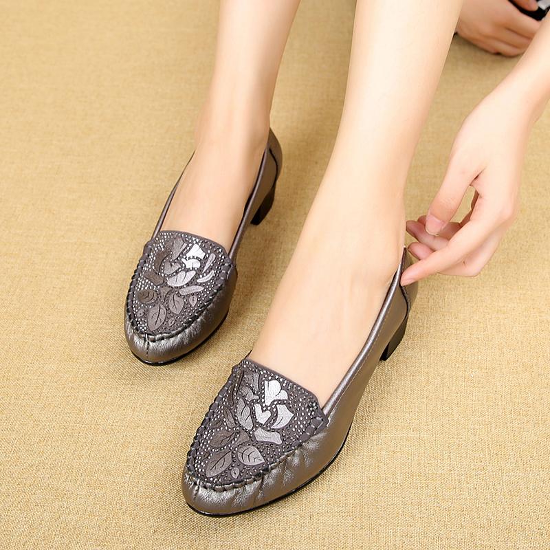女鞋2021新款真皮软底妈妈鞋春秋款单鞋女中跟舒适中老年皮鞋子女