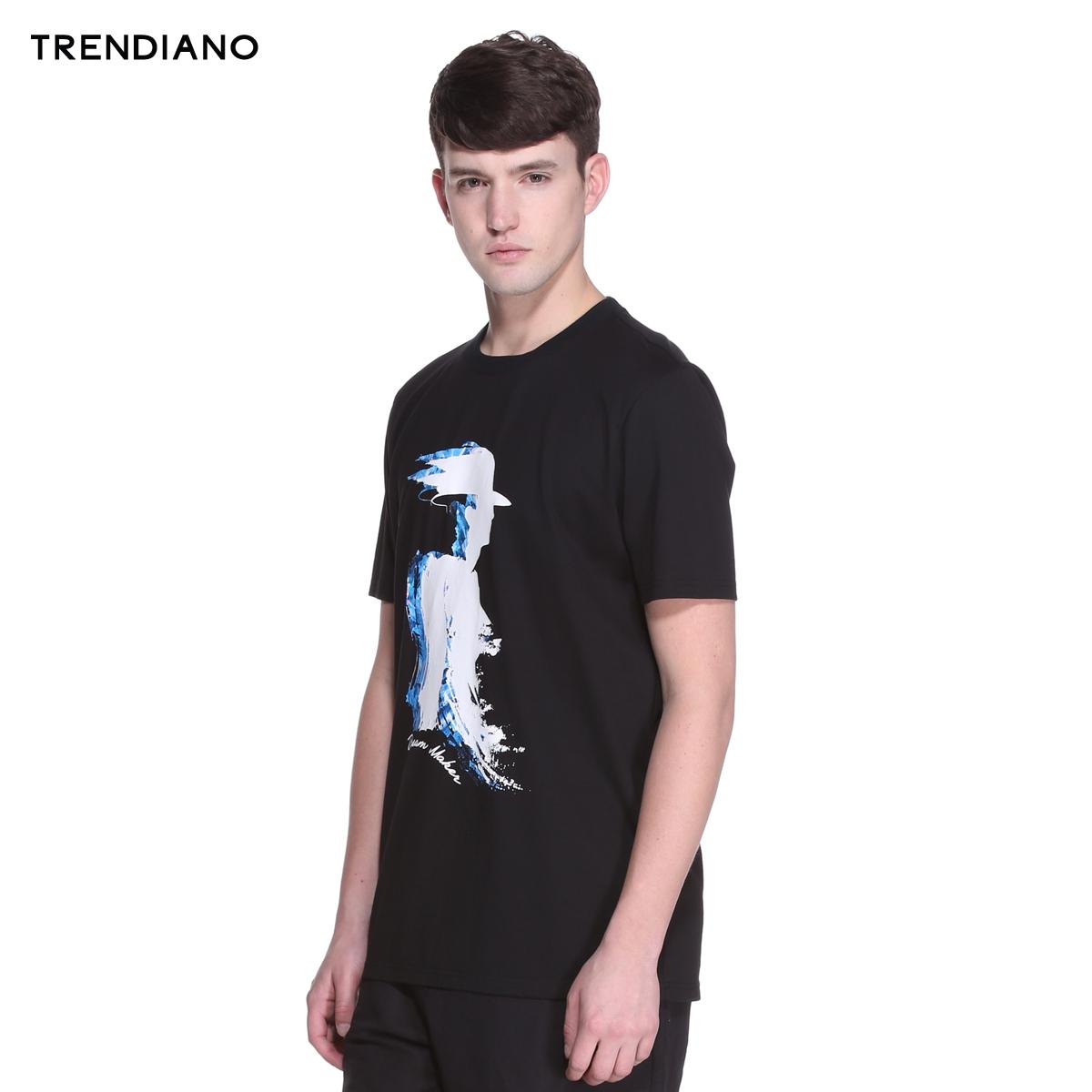 trendiano 字母純棉撞色圓領t恤