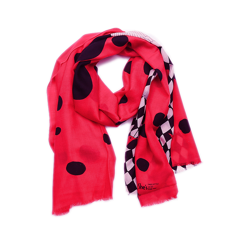 She * s alizarin counter genuine womens wool scarf sunscreen Scarf Shawl color contrast printing super colors