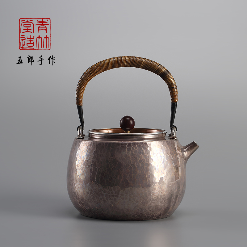 青竹堂日本银壶纯银999茶道烧水壶