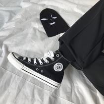 ins布鞋黑色板鞋ulzzang冬季新款帆布鞋女鞋学生韩版百搭原宿2018