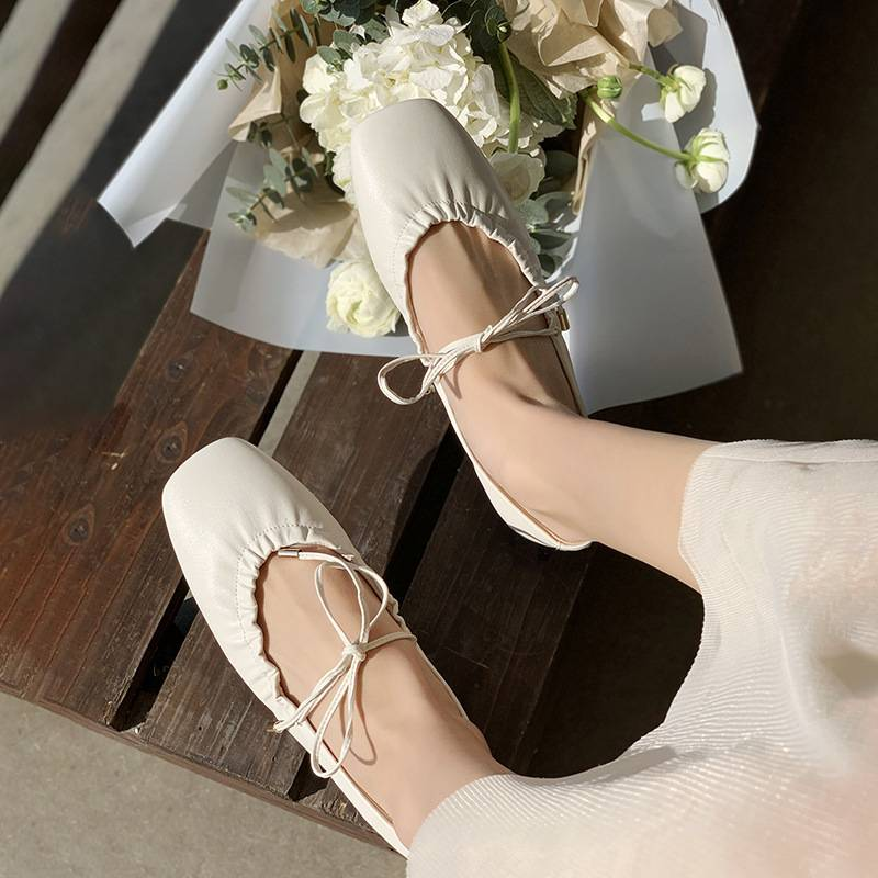2021 spring new girls heart tied with bowknot ballet flat sole shoes Square Head sheepskin womens shoes granny shoes