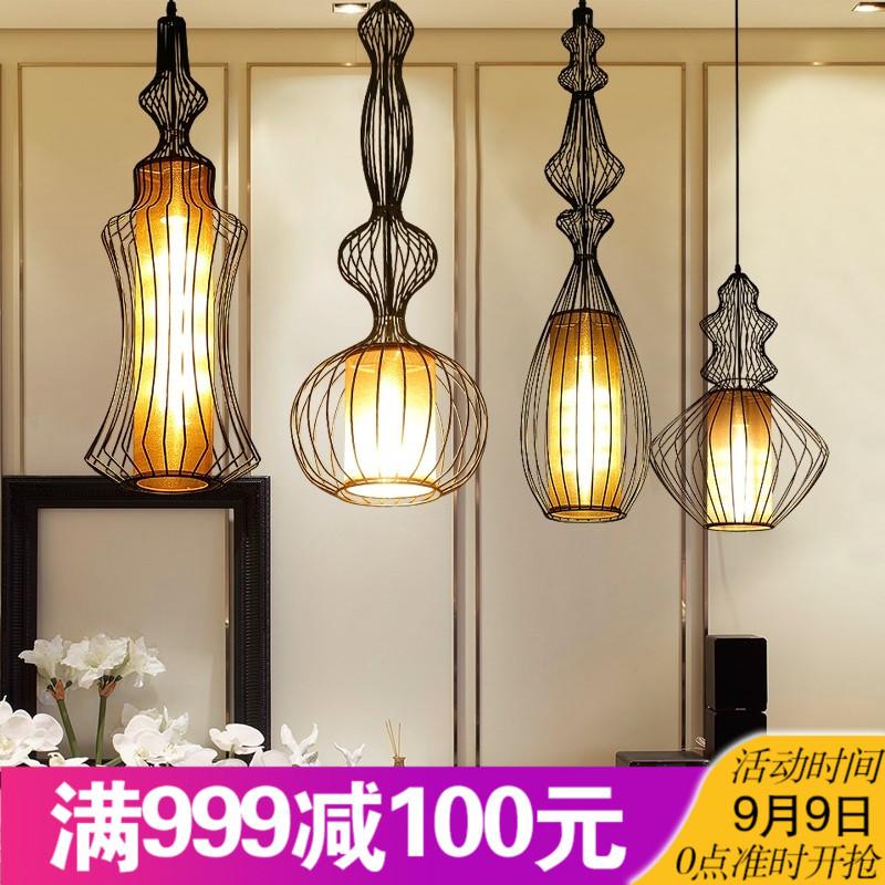 极简中式小吊灯禅意服装店装饰个性橱窗灯铁艺鸟笼灯单头创意灯具