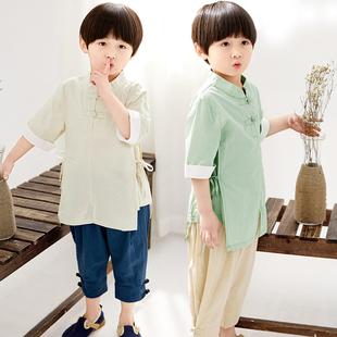 复古服汉 宝宝唐装 两件套小中大儿童国学服套装 中国风男童棉麻夏季