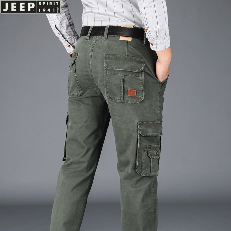 Jeep overalls mens casual large loose straight tube mid waist pants multi pockets autumn / winter 2020 thick military pants men