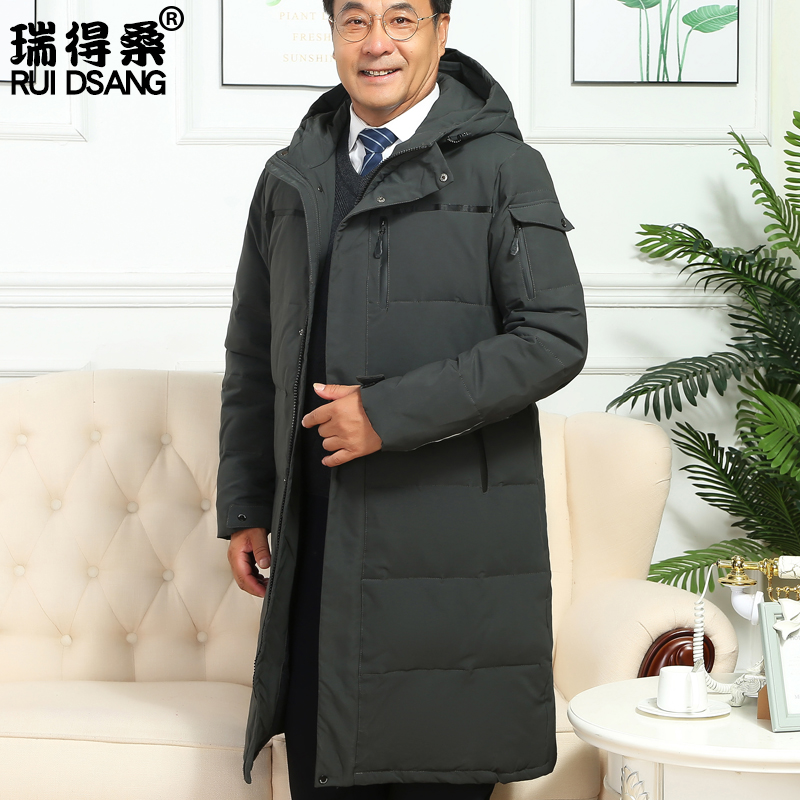 Middle aged and elderly down jacket mens middle and long style thickened middle-aged mens hooded fathers winter coat fathers coat grandfather