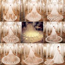 大拖尾 新款 香槟色头纱ins女头饰超仙森系新娘结婚主婚纱白色长款