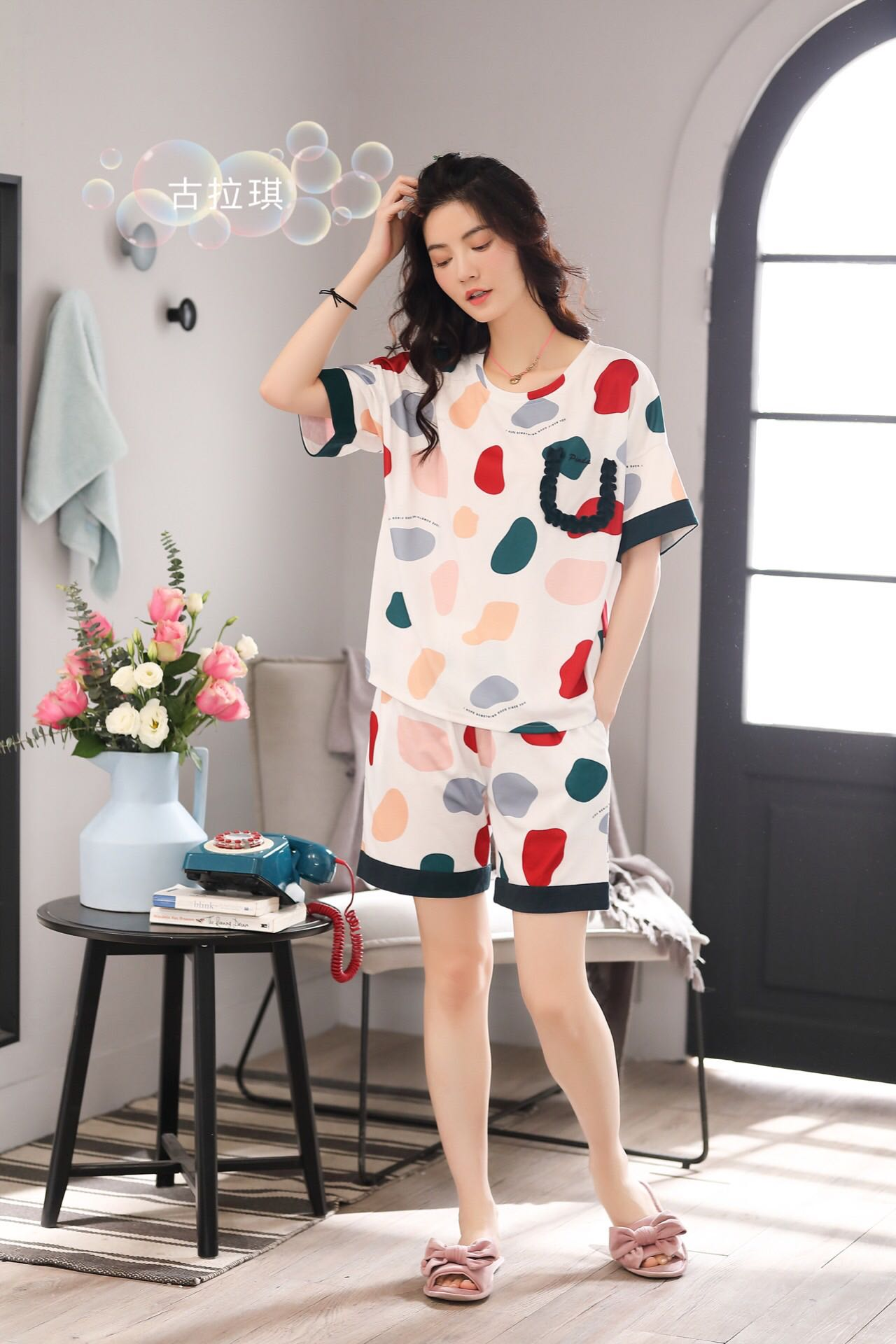 Gulaqi pajamas womens summer cotton short sleeve shorts cotton sweet lovely casual loose can wear home suit