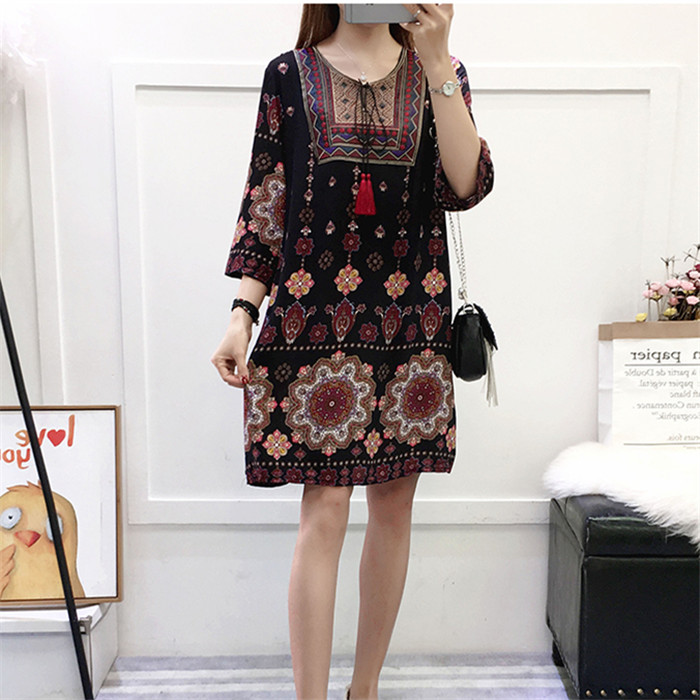 Cotton dress 2020 summer new womens dress artificial cotton loose large medium length straight skirt retro skirt