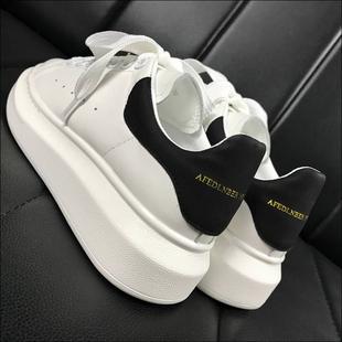 高版本!真皮厚底红星麦昆小白鞋女韩版内增高运动鞋百搭情侣板鞋