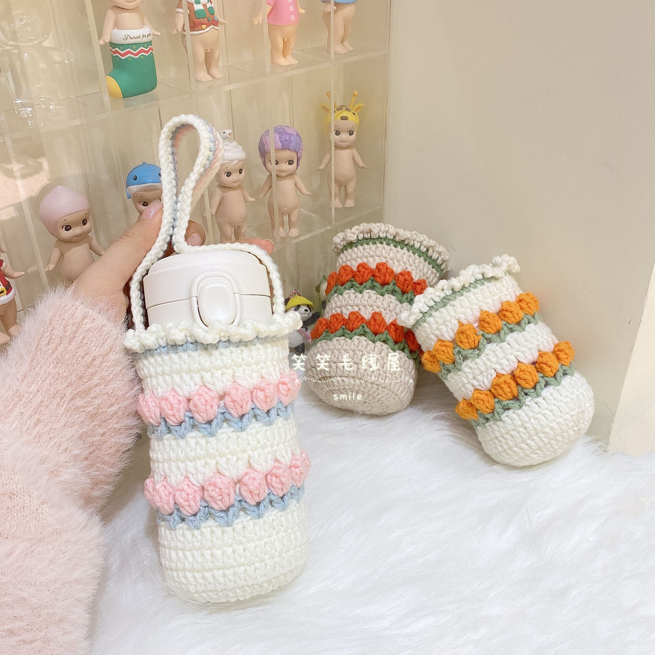 郁金香手工diy材料包毛线编织杯套保温杯罩可以斜跨手提秋冬保暖