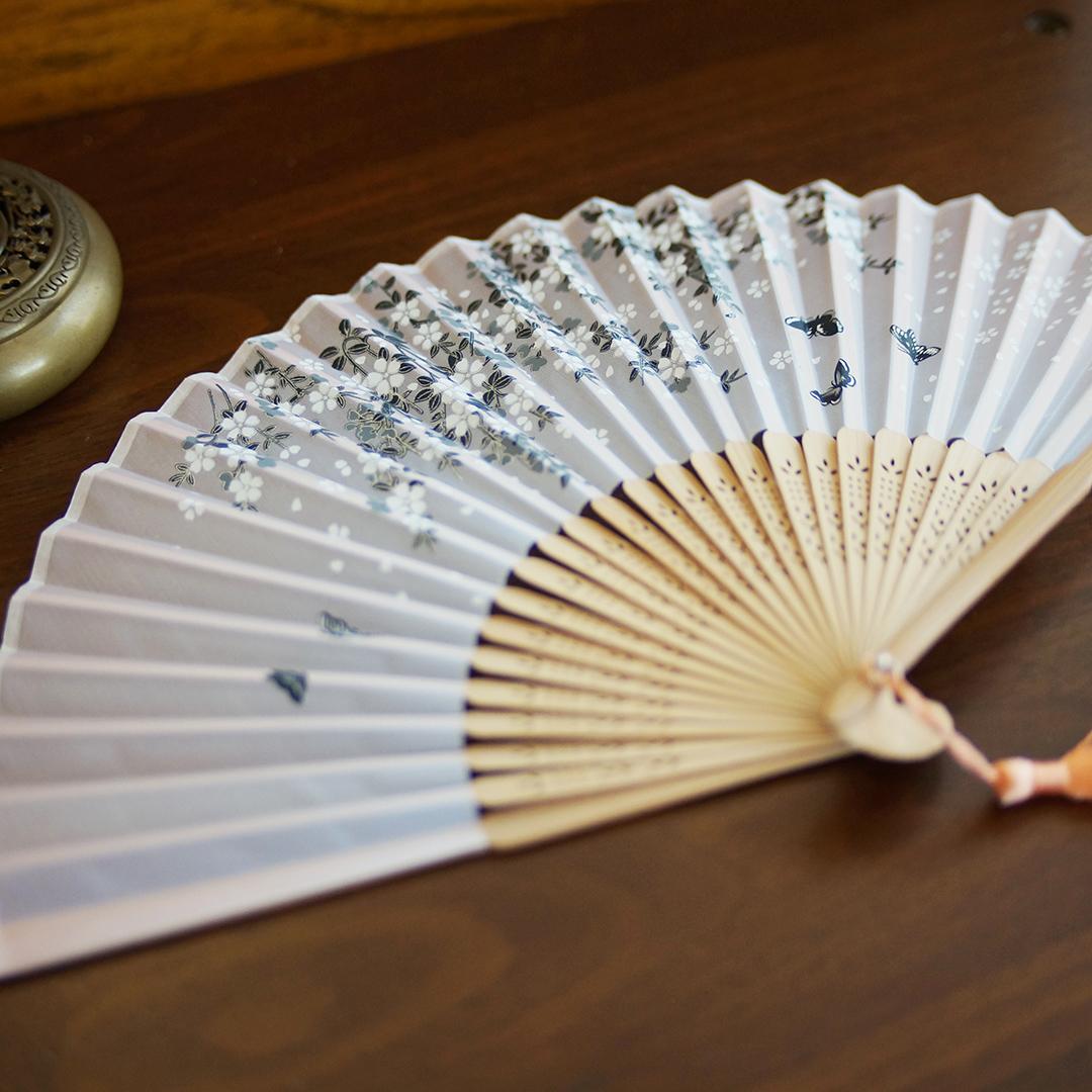 咏摺叠扇 夏天穿汉服の小道具 折扇+绣花扇袋套装 工艺礼品小扇子