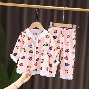 夏季兒童棉綢睡衣女童寶寶中長袖小中大童薄空調服女孩家居服套裝