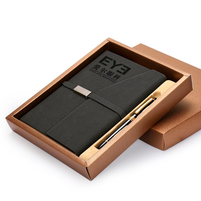 商務會議皮麵筆記本文具 套裝 記事本子套裝可印定製訂做logo