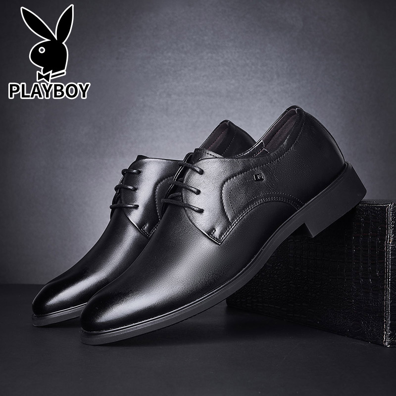 Playboy mens shoes 2020 new spring mens casual formal leather shoes business trend versatile leather shoes