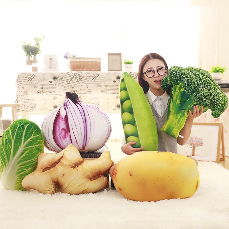 生薑抱枕模擬毛絨玩具蔬菜大白菜豌豆西蘭花土豆水果創意禮物女生