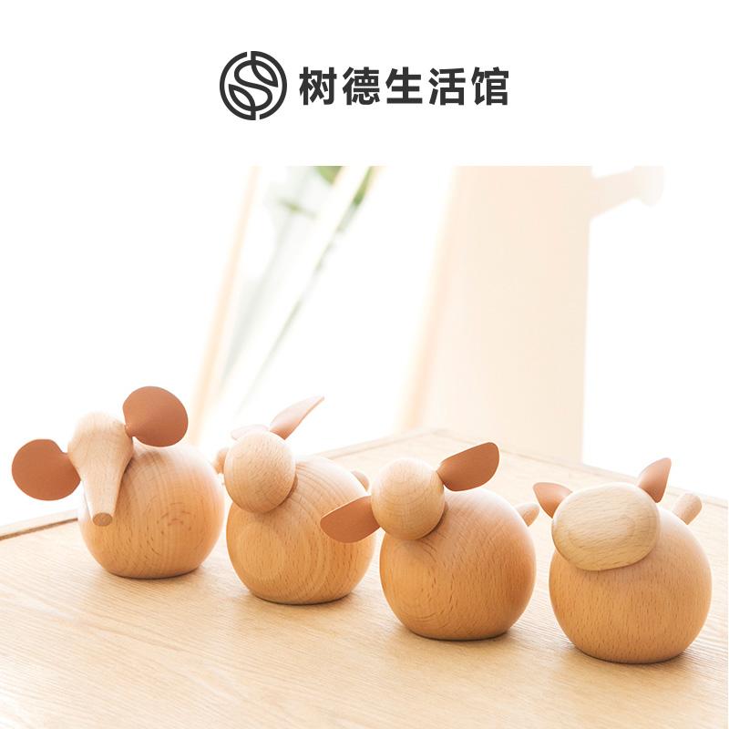 树德生活馆卡通可爱动物造型小摆件大象猫兔子羊客厅卧室书房饰品