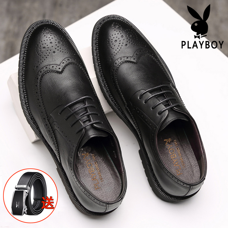 Playboy mens shoes block shoes mens business dress youth Korean fashion casual round head leather England