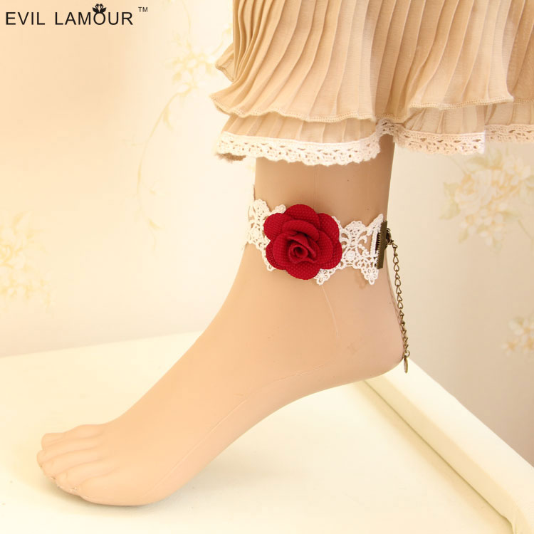 Evillamour白色玫瑰花新娘复古哥特饰品蕾丝女款脚链脚环脚镯