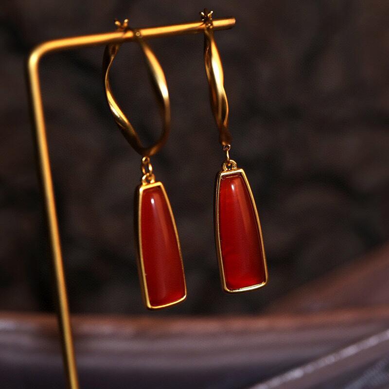 Chinese style retro Earrings Red Agate Ring Earrings female elegant temperament Antique Red earrings earrings accessories