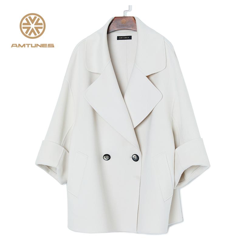 韵歌2020秋冬定制双面羊绒羊毛混纺简约宽松中长款大衣呢子外套