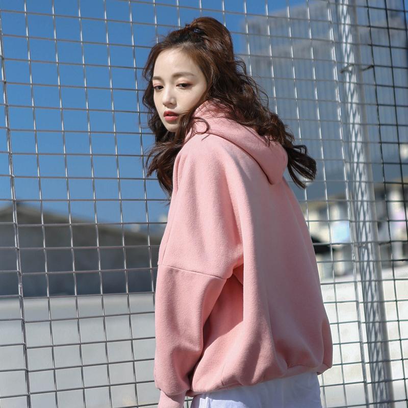 粉色卫衣女2019新款韩版宽松长袖秋冬款加厚加绒蝙蝠袖慵懒风学生