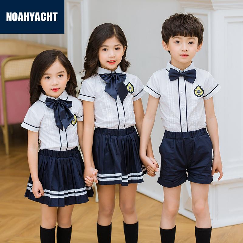 幼��@�@服中小�W生夏季校服英���L班服�和��棉短袖夏款男女套�b