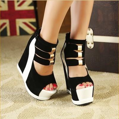 女式时尚凉鞋夏季新款内增高厚底防水台鱼嘴镂空松糕凉鞋恨天高