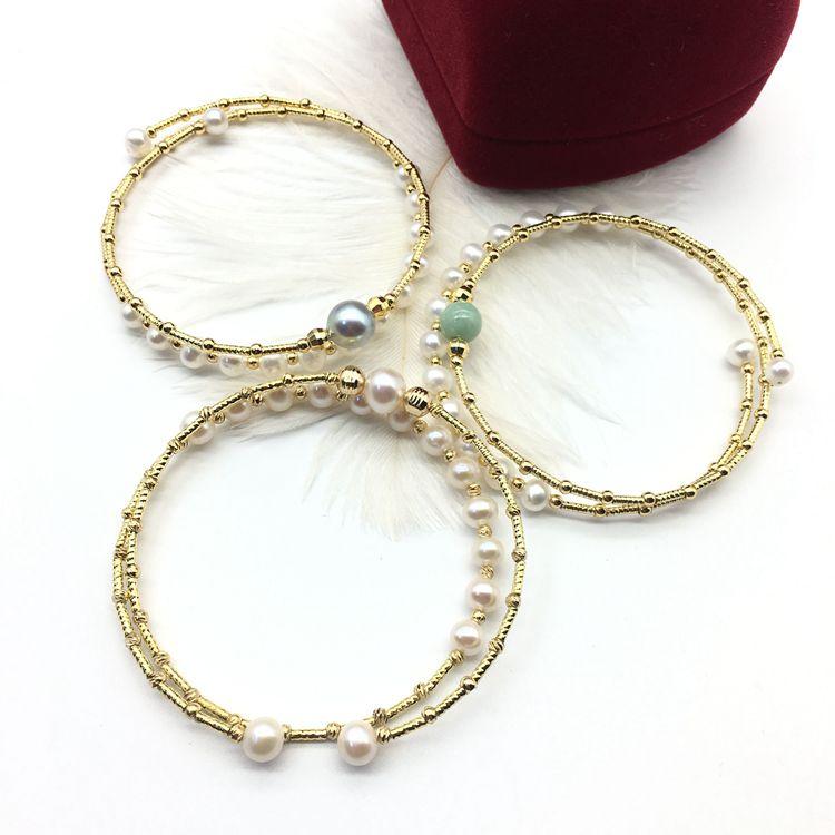 New 14K Gold injected Freshwater Pearl Real Pearl double layer Elastic Bracelet zhenduoma seawater pearl bracelet