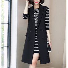 Women in black suit and waistcoat in spring and autumn mid-long fashion cantilever wear women's new suit jacket