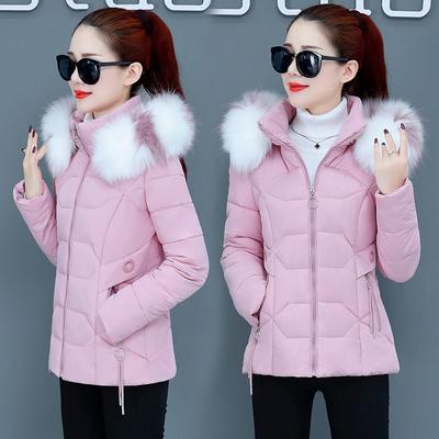 棉衣女短款小个子棉服2020冬季新款修身大毛领可拆卸帽子棉袄外套