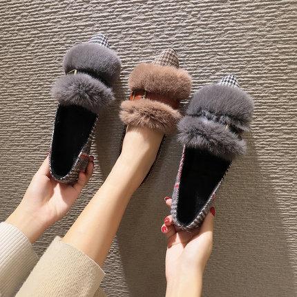 仿真兔毛加绒豆豆鞋女冬季2018新款韩版百搭平底浅口单鞋尖头毛毛