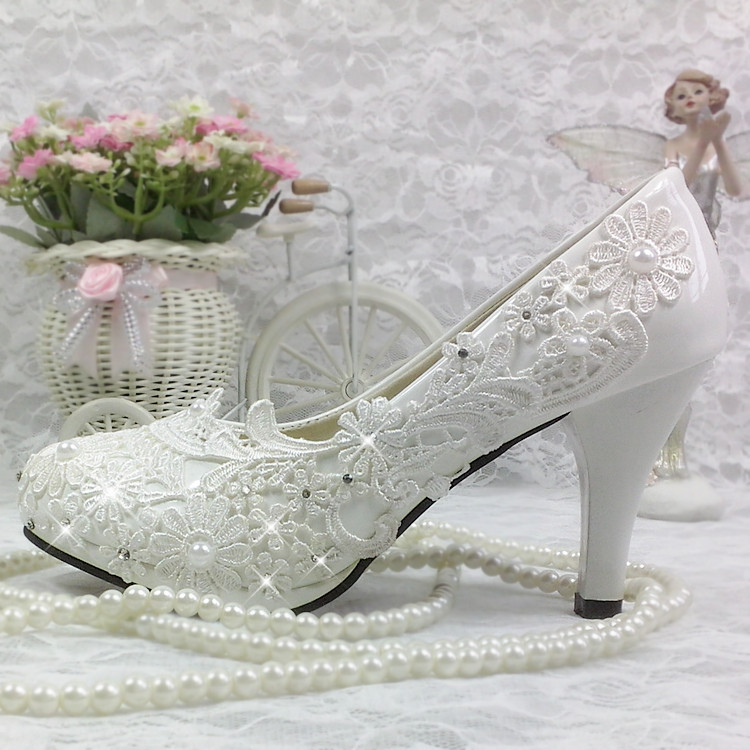 Korean lace crystal wedding shoes Bridesmaid work White Rhinestone high heel platform Flower Pearl single shoes