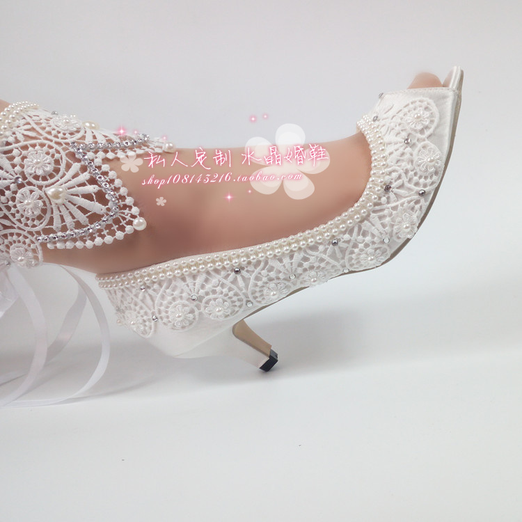 Super high heel diamond diamond wedding shoes with pearl water mouth