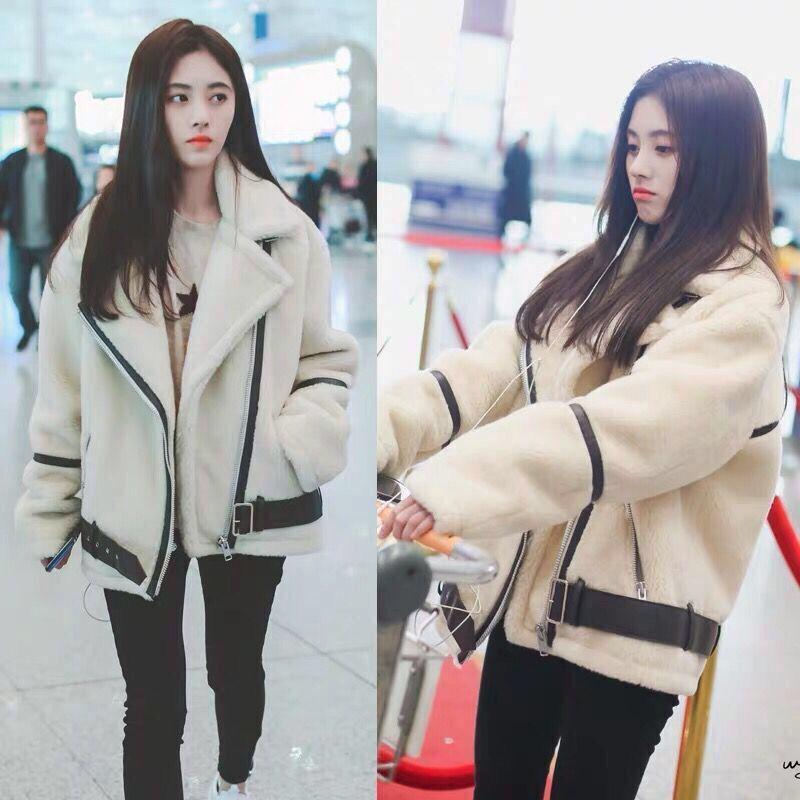 明星鞠婧祎同款羊羔毛外套女冬装米白色宽松短款棉服女加厚机车服
