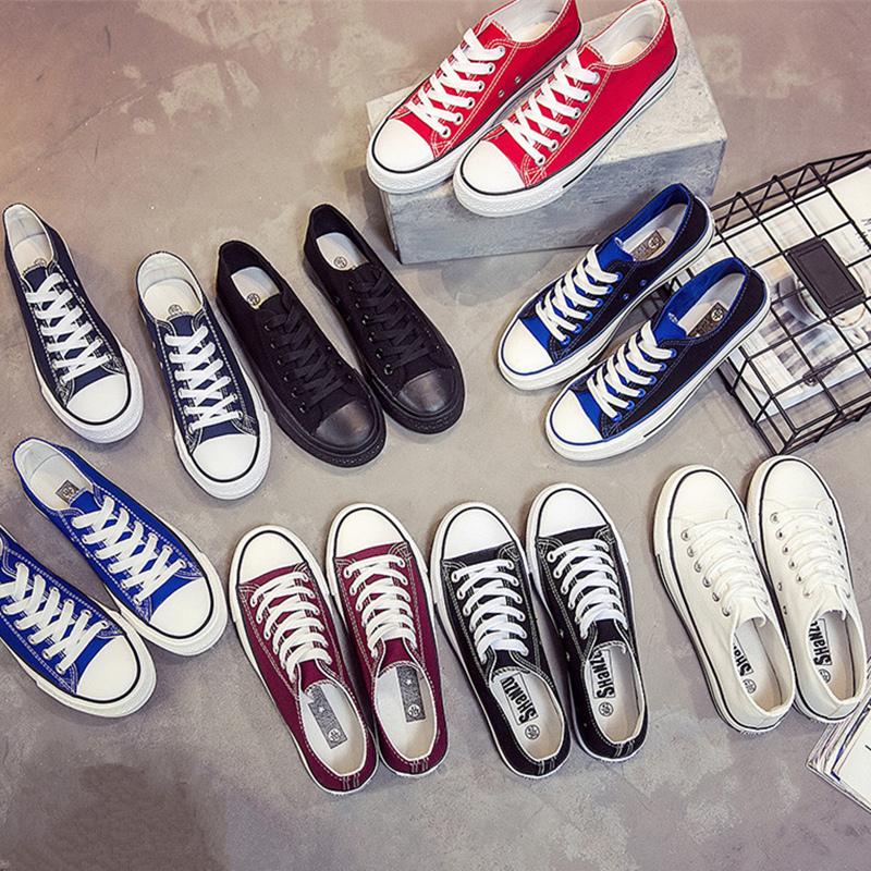 纯色低帮帆布鞋韩版潮男学生平底系带球鞋子经典透气百搭休闲板鞋