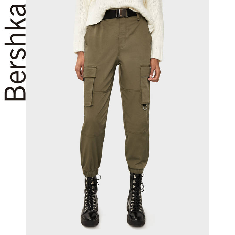 Ms. Bershka's new army green belt pants in spring 2020 women's 05083405505