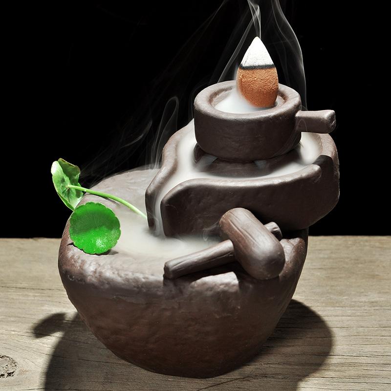 Фиолетовый камень мельница назад курильница античный чайная церемония ароматерапия печь струиться облако дым ладан сандаловое дерево башня курильница украшение бесплатная доставка