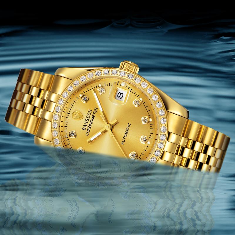 正品邦士度情侣手表全自动机械表精钢夜光防水金色女男表金表