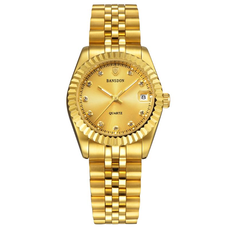 邦士度女士金色手表钢带防水时尚款韩版夜光金表潮流水钻石英表女