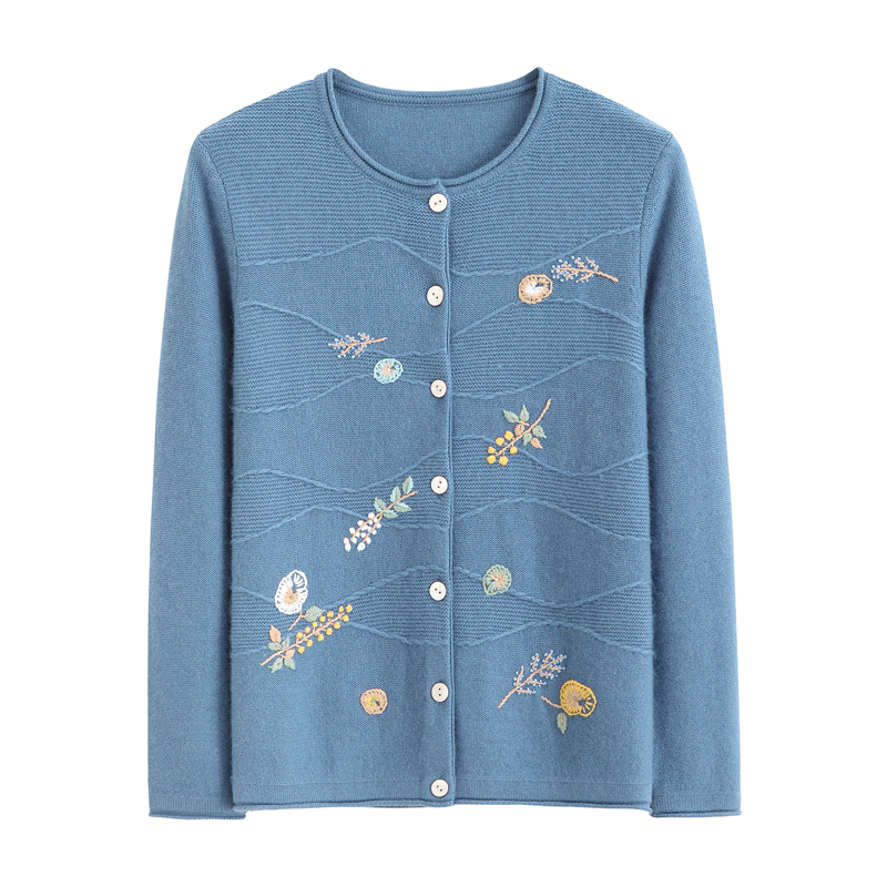 Middle aged and old aged cashmere sweater women cardigan thickened sweater solid color embroidery mother grandma dress autumn and winter new